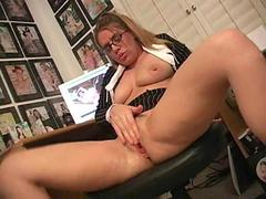 Upskirt Masturbating in Chair