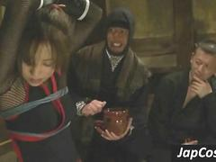 Petite asian slave gets tortured in ropes