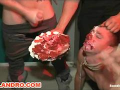 Horny Gay Publicly Humiliated Double Penned and Shoved in Birthday Cake