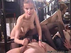 Pussy Licking And Hard Teasing Handjob bdsm bondage slave femdom domination