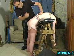Slow spanking the woman hard