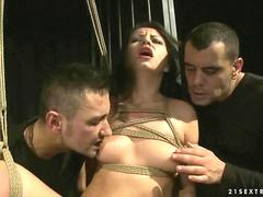 Girl getting bondaged and fucked by two guys