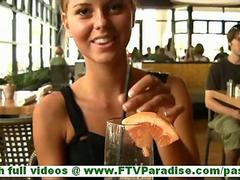 Jessi cute innocent blonde teen having dinner in restaurant video