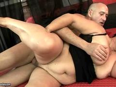 Fat granny getting fucked pretty hard in her pussy