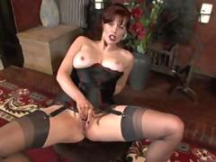 Posh fantastic nylon stocking milf gets naughty with her pussy