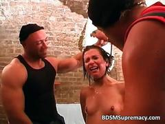 Messy bdsm threesome play where brunette movie