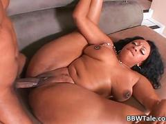 Busty black slut fucks like a a pro