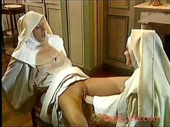 Lesbian nun fists her secret lover real deep