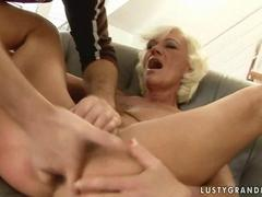 Hot granny gets her pussy and ass fucked real hard