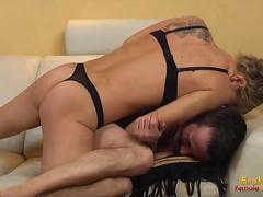 short haired muscled mistress devastates her boyfriend