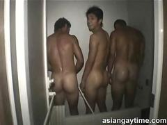 An all male dormitory shower caught on cam