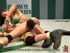Lesbians Wrestling For Pussy