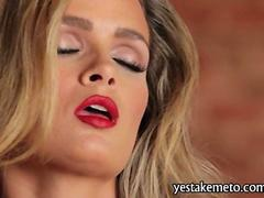 Seductive blonde Prinzzess masturbates in black stockings