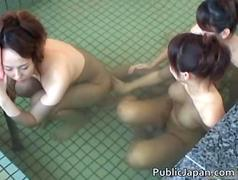 Asian gal is in a bathing spa and gets
