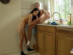 Old man fucks with bold tall brunette in the kitchen