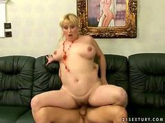 Busty blonde milf fucks her young lustful lover