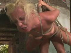 Hot blonde gets punished and fucked rough whilst hanging