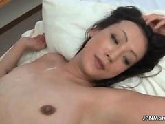 Sexy asian babe gets fucked and covered with cum