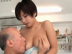Old horny and nasty dude licks her nipples