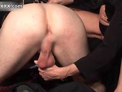 Horny blonde bitch goes crazy on his ass