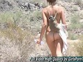 Cute teen Riley loses her clothes while hiking