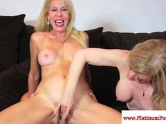 Milfs Erica Lauren and Nina Hartley have ffm fun