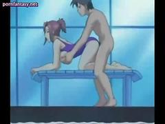 Hot anime swimming teacher getting drilled