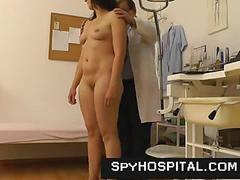 Voyeur doctor spying on young pussy