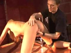 Wet spanking and dominated blowjob with a hot blonde slave