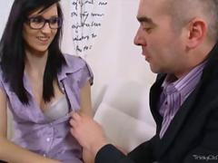 Alla wiggles her petite hips as she sits on her teachers cock so it will go deeper