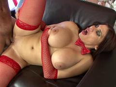 Xmass creampie stuffs a MILF and oozes down her tummy after doggystyle sex