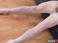 Twink loves to wear pantyhose and masturbate