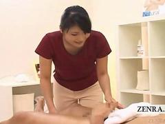Subtitled CFNM Japan masseuse with masturbating client