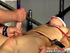 Bound Twink squirms during a handjob