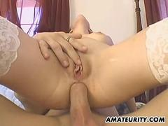 Amateur girlfriend in stockings anal action with creampie