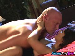 Asian Mistress toys and rides her hunky bald slave