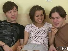 teen babe is having a great fuck with the boys
