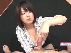 Japanese femdom plays with a rock hard prick