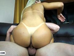 Curvy Brazilian shemale with big tits having wild anal sex
