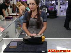 Coed babe facialed in pawnshop