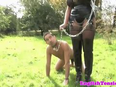 Busty british femdom trains her worthless sub