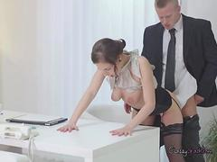 Assistant Antonia Sainz Bends Over For Her Boss