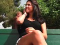Cute teen flashing pussy upskirt for money