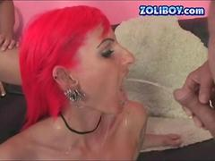 pink head slut has a threesome with the boys