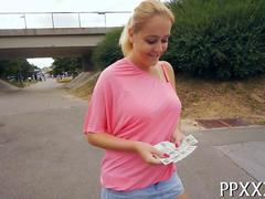 Blonde babe counts her  cash and gets her plump pussy fucked