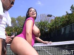 Big tits tennis player rides her instructors big dick on the court