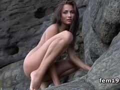 Beautiful Mila K posing naked outdoor
