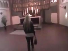 Nasty blonde whore sucking dick off in a church in POV