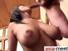 busty Asian has a hot time titty fucking the dude