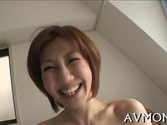 Short haired Asian MILF gets boned in her sweetp ussy